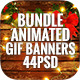 Bundle Animated GIF Merry Christmas Banners Ad - 44 PSD - GraphicRiver Item for Sale
