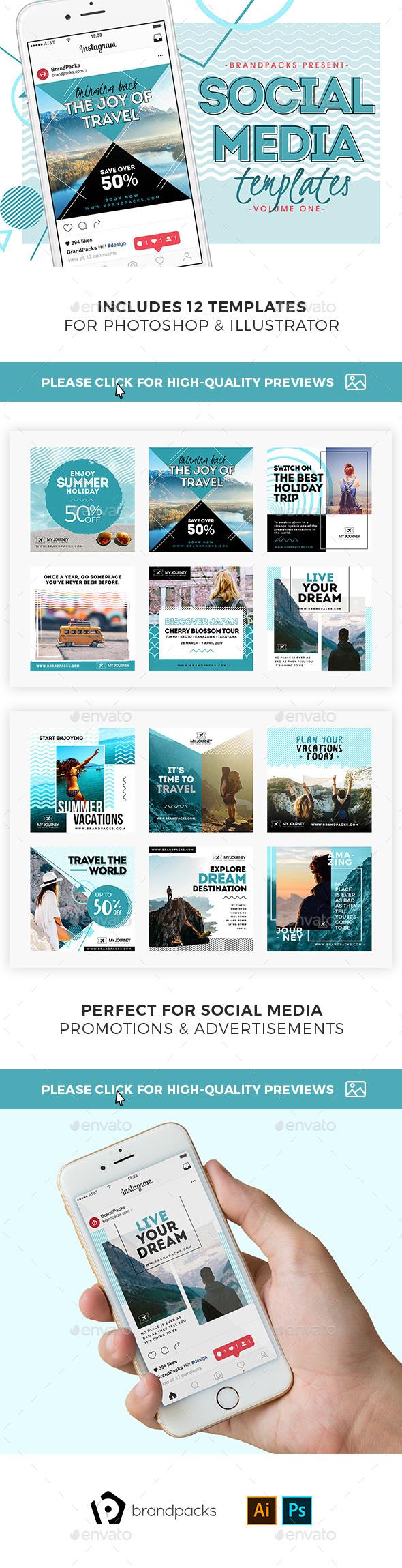 Travel Social Media Templates - Social Media Web Elements