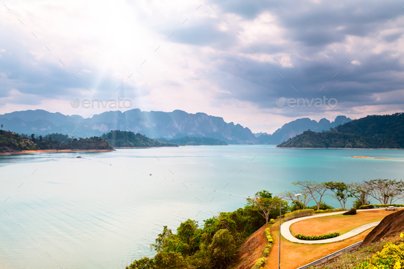 mountains and water under sunhine in Thailand - Stock Photo - Images