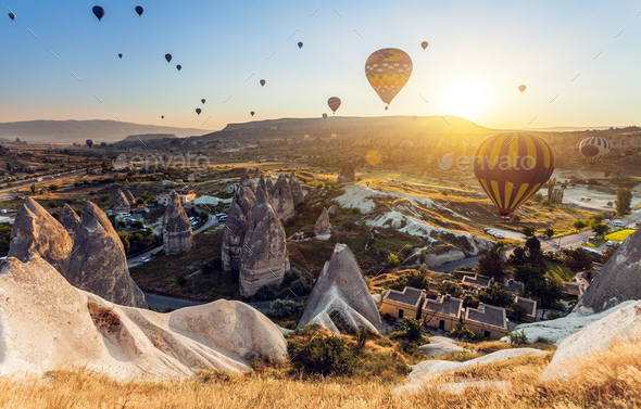 Hot air balloons over Cappadocia - Stock Photo - Images