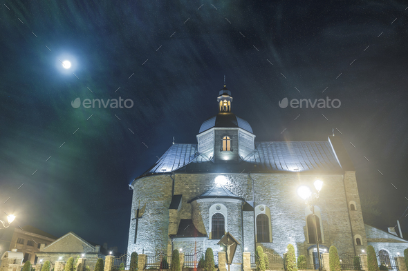 medieval church in night - Stock Photo - Images