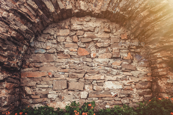 Ancient stone wall - Stock Photo - Images