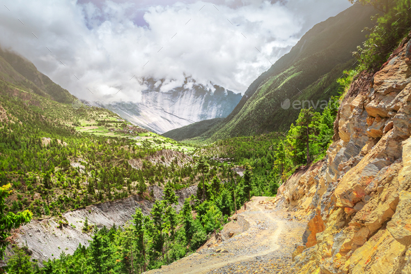 mountains in cloudy day - Stock Photo - Images