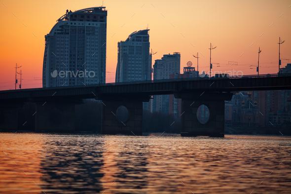 sunset over bridge - Stock Photo - Images