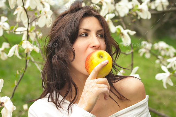woman  in nature - Stock Photo - Images