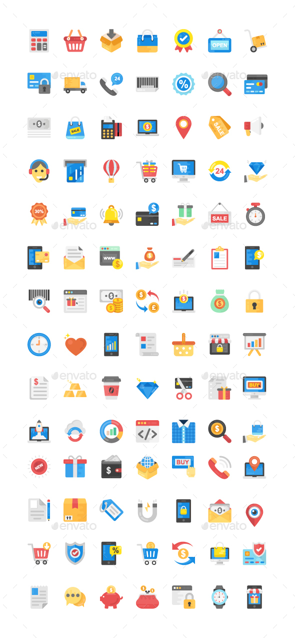 GraphicRiver 100 Shopping and Commerce Flat Icon 21123871