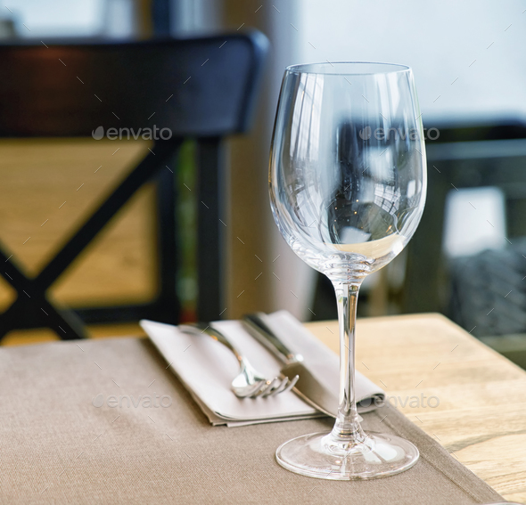 Empty glass on the table - Stock Photo - Images