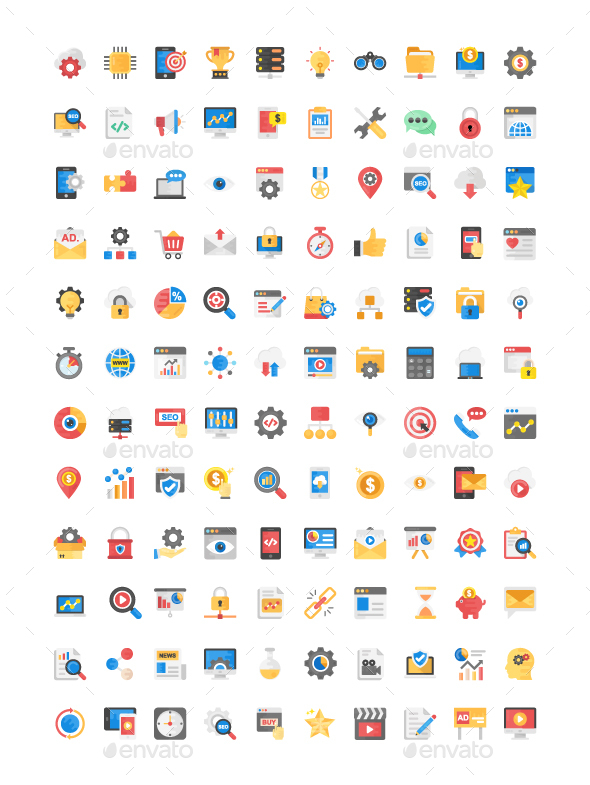 GraphicRiver 120 Flat Icons on SEO and Marketing 21123890