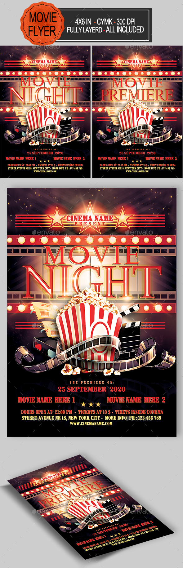 GraphicRiver Movie Night Flyer 21123952