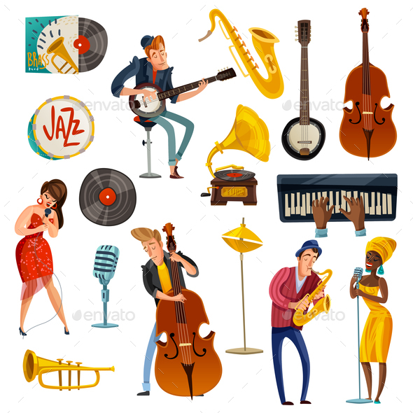 GraphicRiver Jazz Music Cartoon Set 21123975