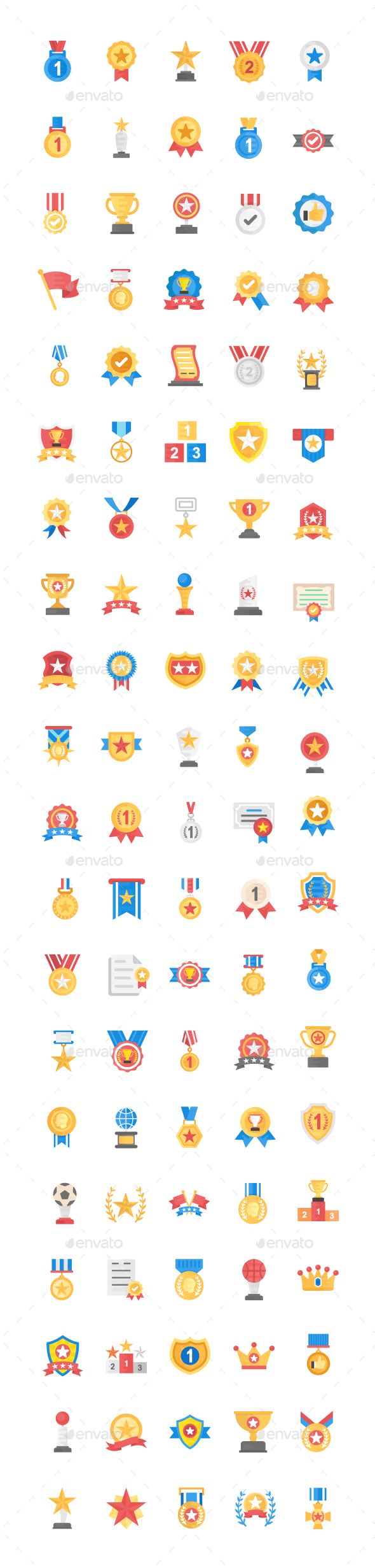 GraphicRiver 100 Medals and Rewards Flat Icons 21123979