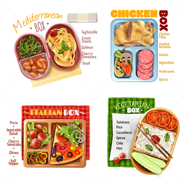 Boxed Lunch Design Concept - Food Objects