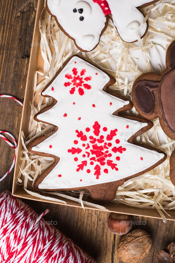 Christmas gingerbread cookies baking background - Stock Photo - Images