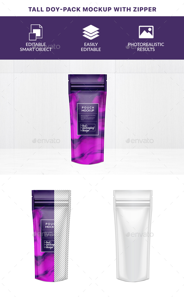 GraphicRiver Tall Doy-Pack Mockup with Zipper 21121923