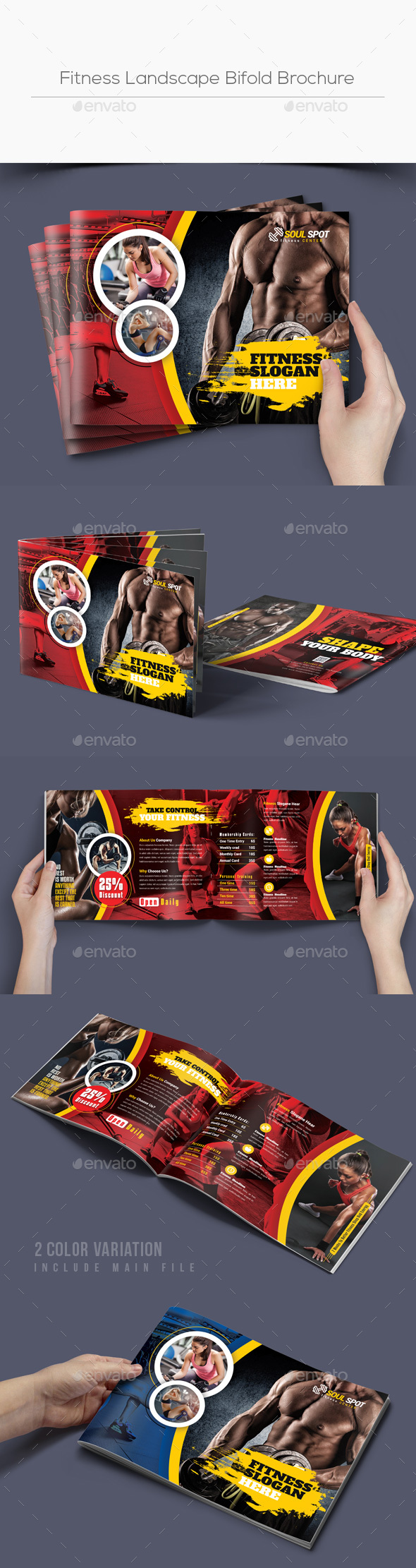 Fitness Landscape Bifold Brochure - Corporate Brochures