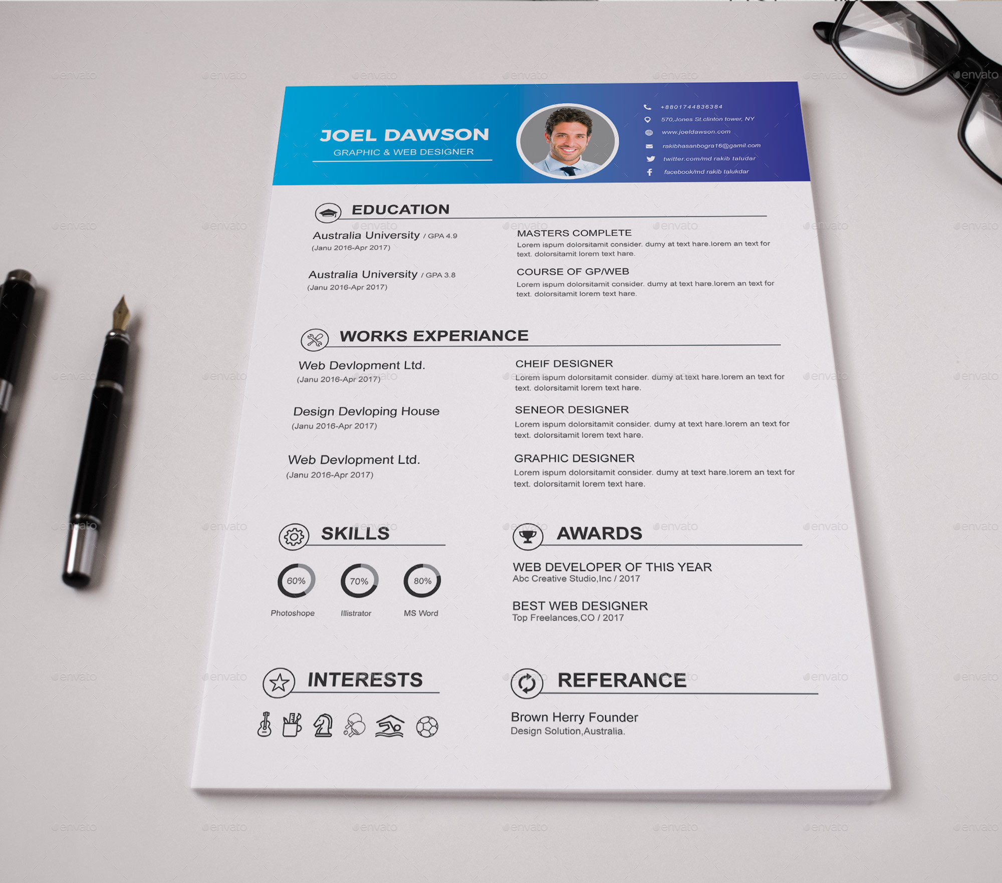 Resume Bundle 3 in 1 by PixelDesign16 | GraphicRiver