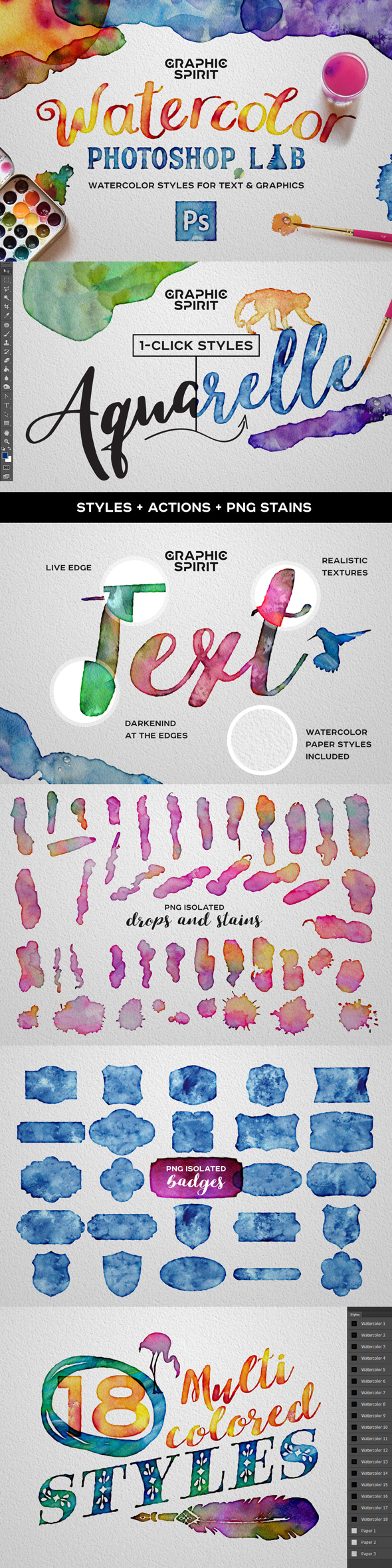Watercolor Photoshop Styles + Extras - Text Effects Styles