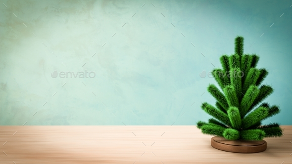 Small Christmas Tree. 3D Render - 3D Backgrounds