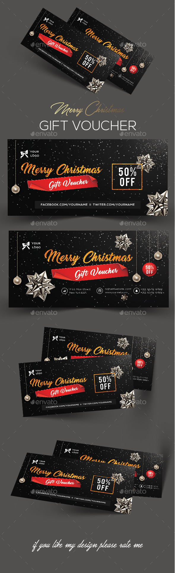 Christmas Gift Voucher - Flyers Print Templates