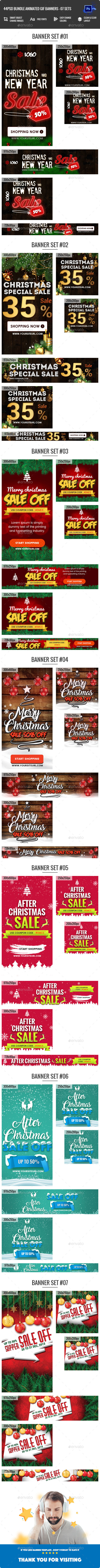 Bundle Animated GIF Merry Christmas Banners Ad - 44 PSD - Banners & Ads Web Elements