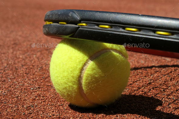Detail of a clay court of tennis - Stock Photo - Images