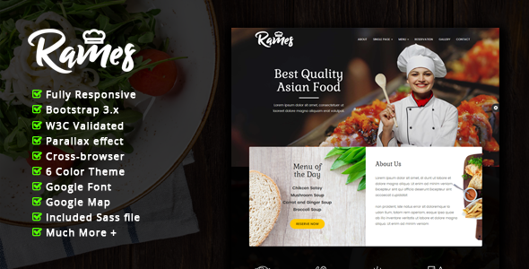 Download Rames - Restaurant Cafe Responsive HTML Template            nulled nulled version