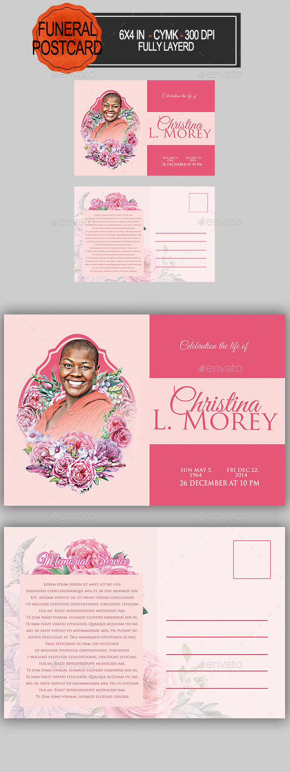 GraphicRiver Funeral Program Postcard 21124793