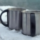 Two Cups of Hot Coffee or Tea in Snowy Winter - VideoHive Item for Sale