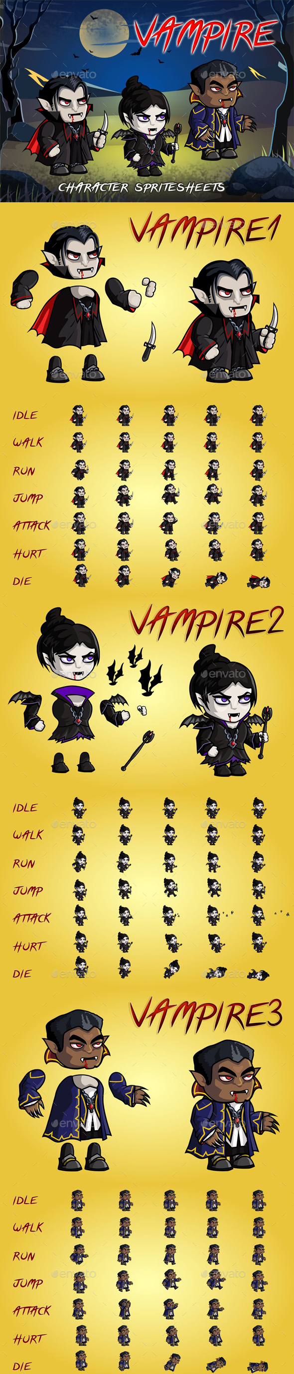 GraphicRiver Vampire 2D Game Character Sprite Sheet 21124825