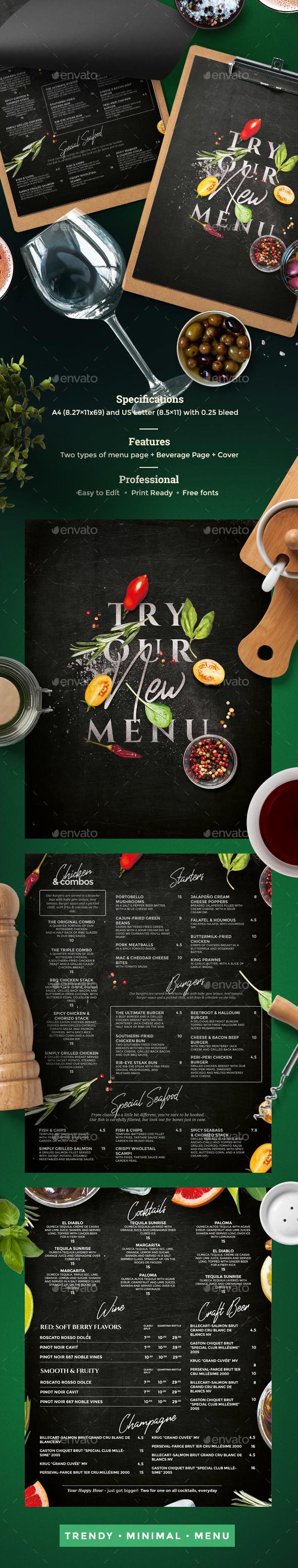 Chalkboard Menu - Food Menus Print Templates