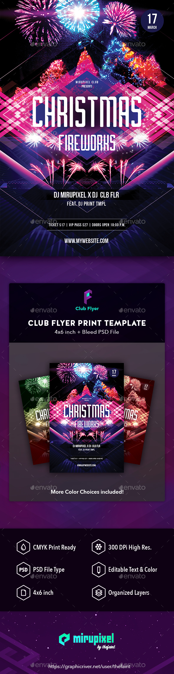 GraphicRiver Club Flyer Christmas Fireworks 21124859