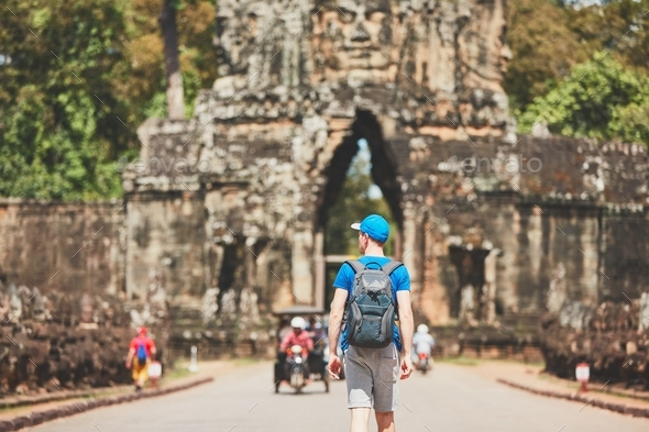 Traveler in the ancient city - Stock Photo - Images