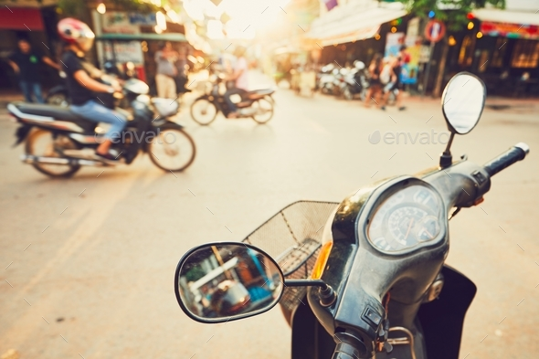 Siem Reap city at the sunset - Stock Photo - Images