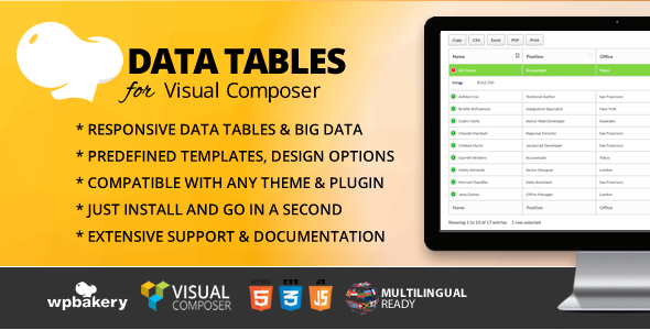 Data Tables Addon for Visual Composer Free Download | Nulled