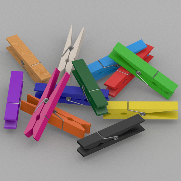 Colorful clothespin bundle - 3DOcean Item for Sale