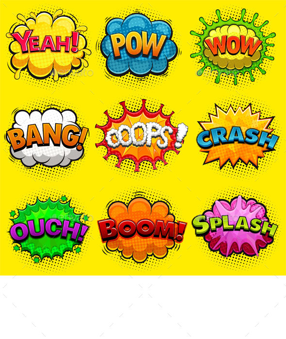 Multicolored Comic Sound Effects - Decorative Symbols Decorative