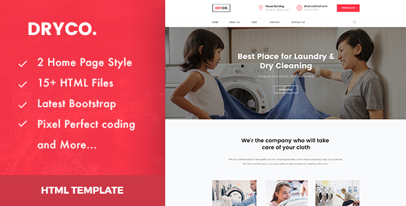 Dryco : Laundry, Dry Cleaning Services HTML Template