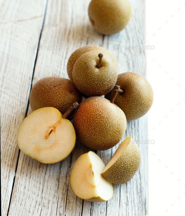 Nashi Pears on wood - Stock Photo - Images