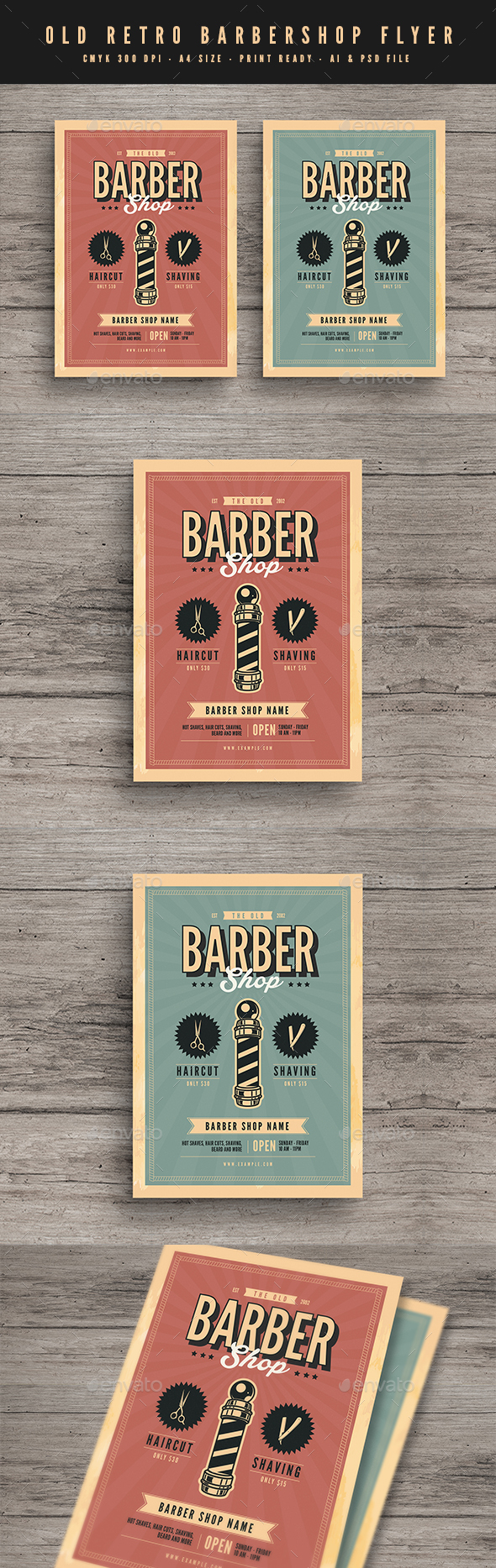 GraphicRiver Old Retro Barbershop Flyer 21125134