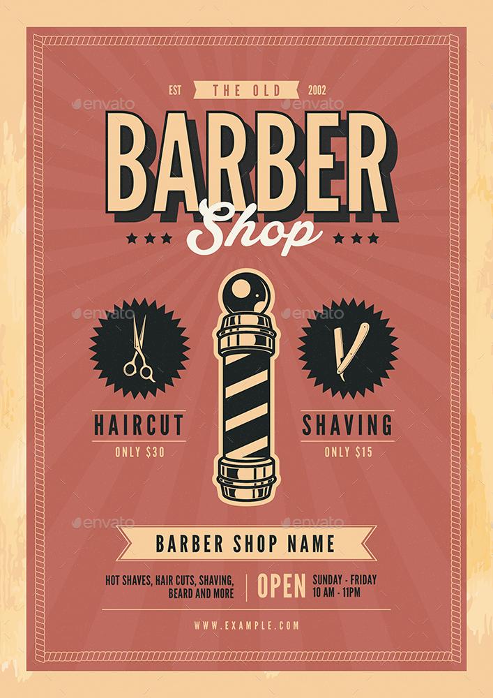 Old Retro Barbershop Flyer