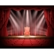 Red Curtain and Theatrical Stage with Vintage Chair
