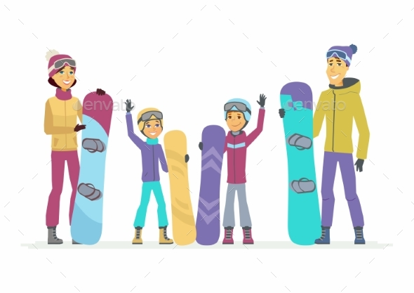 GraphicRiver Family Goes Snowboarding Cartoon People 21125364
