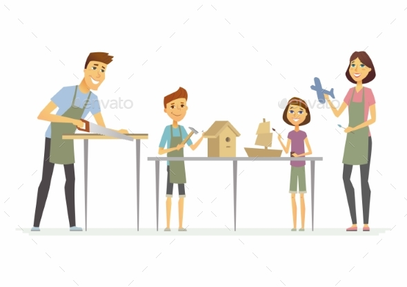 GraphicRiver Family Making Handicrafts Cartoon People 21125365