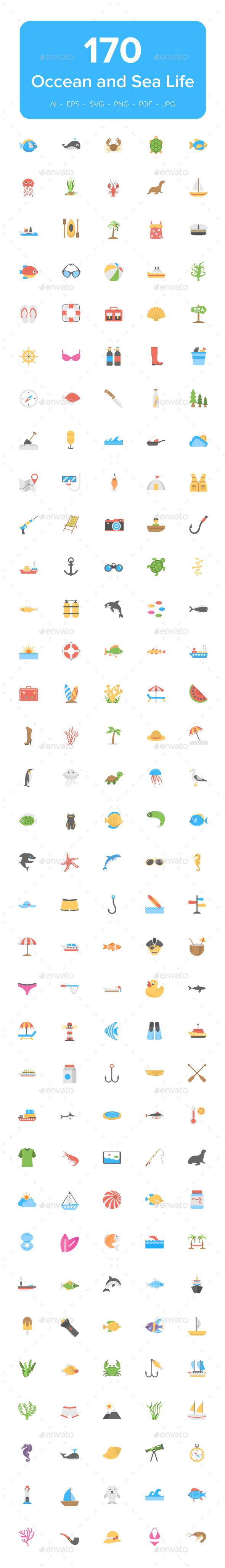 GraphicRiver 170 Ocean and Sea Life Vector Icons 21125394