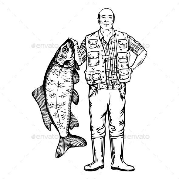 GraphicRiver Fisherman with Fish Vector Illustration 21125407
