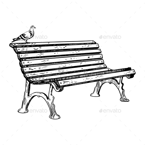 GraphicRiver Park Bench Engraving Vector Illustration 21125415