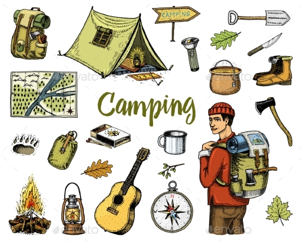 Camping Equipment Set - Sports/Activity Conceptual