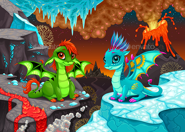 Baby Dragons in a Fantasy Landscape - Animals Characters
