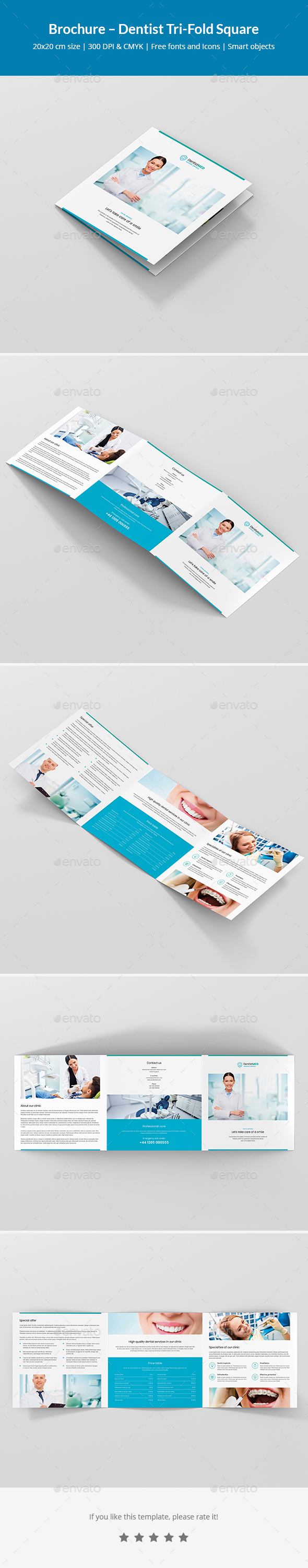 GraphicRiver Brochure Dentist Tri-Fold Square 21125977