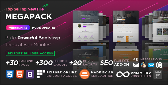 MEGAPACK – Marketing HTML Landing Pages Pack + PixFort Page Builder Access